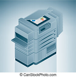 grande, foto, impressora, /, copiador