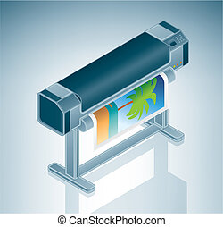 grande, foto, impressora, /, plotter