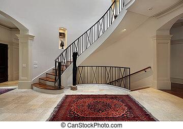 grande, foyer, escadaria, circular