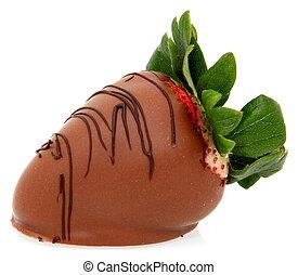 grande, fresa, mojado, chocolate