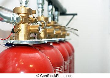 grande, fuego, co2, extintores