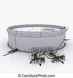 grande, galleggiante, serbatoio olio, tetto