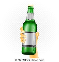 grande, garrafa cerveja, mão
