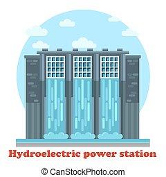 grande, generador, potencia, dique, energía, seawall.,...