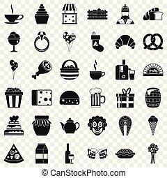 grande, generosità, icone, set, semplice, stile
