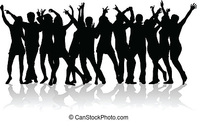 grande, gente, grupo, joven, bailando