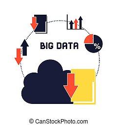 grande, gerencia de datos, iconos