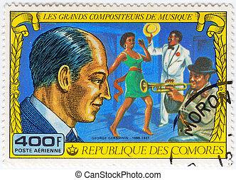 grande, gershwin, selo, circa, -, comores, pianista, 1977,...