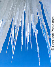 grande, ghiaccioli, su, cielo blu, fondo