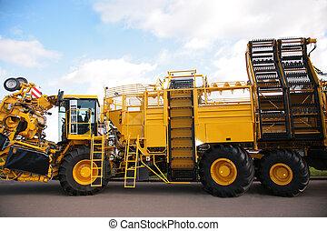 grande, giallo, agricolo, camion