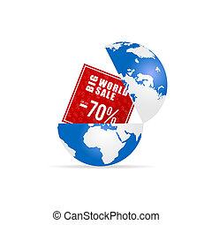 grande, globo, vendita, illustrazione, mondo