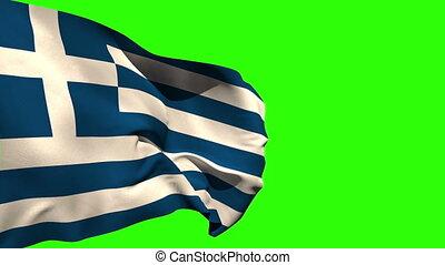 grande, grécia, bandeira nacional, soprando
