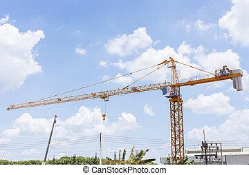 grande, grúa construcción, y, el, edificio, contra, el, cielo