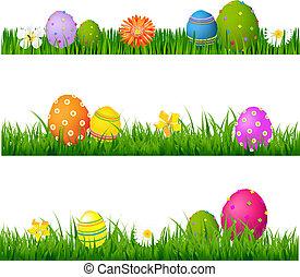 grande, grama verde, jogo, com, flores, e, ovos páscoa