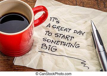 grande, grande, esso, inizio, qualcosa, giorno