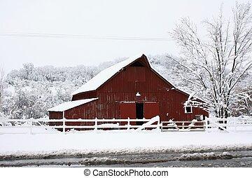grande, granero rojo, en, el, snow.
