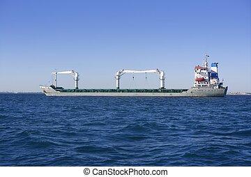 grande, grigio, superpetroliera, benzina, olio, barca