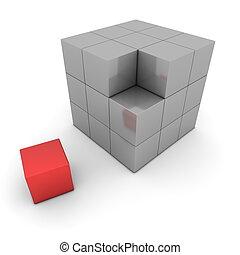 grande, gris, cubo, de, bloques, -, uno, caja roja, separado