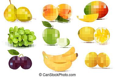 grande, grupo, de, diferente, fruit., vector.