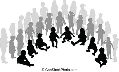 grande gruppo, bambini