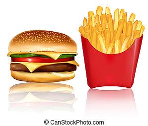 grande, gruppo, di, fast food, products.
