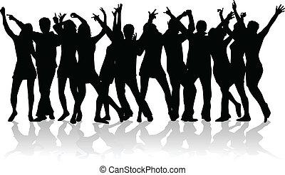 grande gruppo, di, giovani persone, ballo
