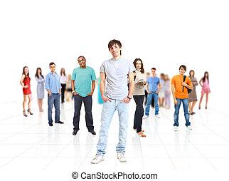 grande, gruppo, giovani persone