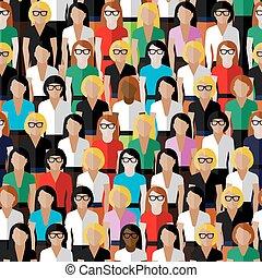 grande gruppo, modello, ladi, seamless, well-, vettore,...