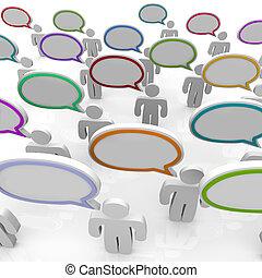 grande gruppo persone, parlare, -, discorso, bolle