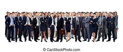 grande gruppo persone, piena lunghezza, isolato, bianco