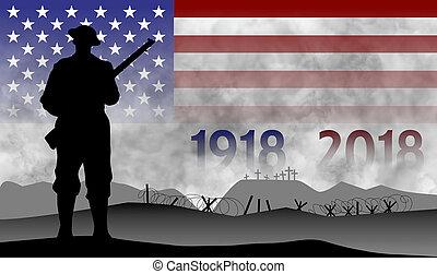 grande, guerra, centenary, estados unidos de américa, conmemoración