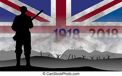 grande, guerra, inglaterra, centenary, conmemoración