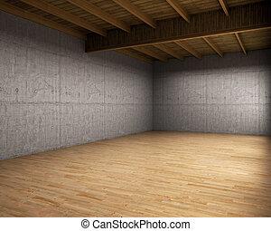 grande, habitación vacía, con, concreto, walls., 3d,...