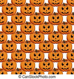 grande, halloween, coloreado, ilustración, patrón, tema