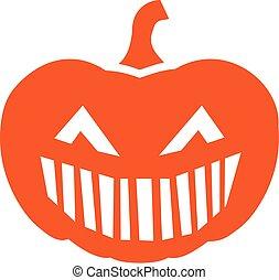 grande, halloween zucca, bocca, faccia