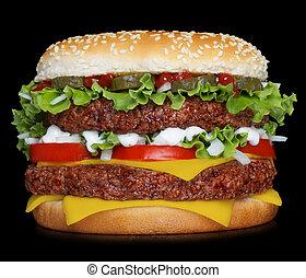 grande, hamburger, nero, isolato