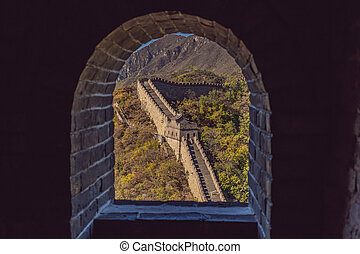 grande, hecho, pared, serie, fortificaciones, china, ladrillo, china., piedra