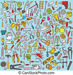 grande, herramientas, colección