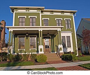grande, histórico, diseñar, dos -story, verde, hogar