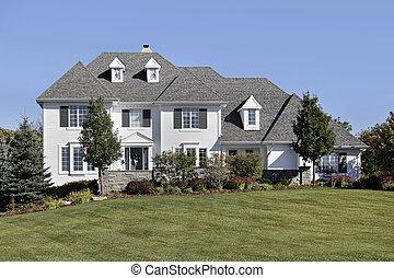 grande, hogar, blanco, apartadero