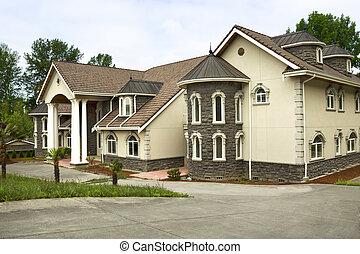 grande, hogar, moderno, costumbre