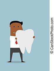 grande, homem negócios, dente branco