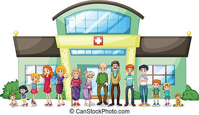 grande, hospitalar, exterior, família
