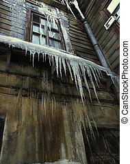 grande, icicle, antigas, casa