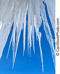 grande, icicles, ligado, céu azul, fundo