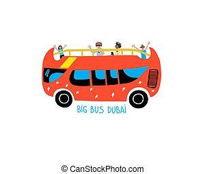 grande, icona, viaggiare, escursione, mano, autobus, dubai...