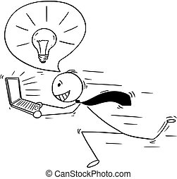 grande, idea affari, concettuale, cartone animato, uomo