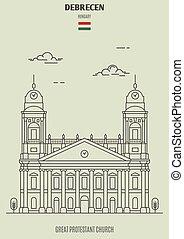 grande, iglesia protestante, señal, debrecen, hungary., ...