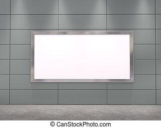 grande, illustrazione, manifesto, wall;, vuoto, 3d