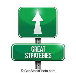 grande, ilustração, sinal, desenho, estratégias, estrada